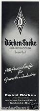 Lack Farben Dörken Herdecke Reklame 1942 Farbenfabrik Werbung Ad Maler Farbe