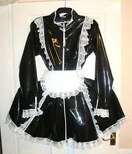 MISFITZ BLACK PVC PADLOCK COLLAR SISSY MAIDS DRESS SIZE 24  FETISH