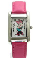 New Disney Minnie Mouse Collectible Pink Leather Band Rectangular Watch MIN066