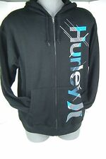 New Mens Small Hurley Black Blue Zippered Hoody Hooded Jacket $50