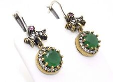 HURREM SULTAN 925 STERLING SILVER BRZ ROUND EMERALD RUBY TP EARRINGS USA SELLER
