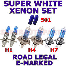 FITS   CITROEN C5 2001-2004  SET H7 H4 H1 501 SUPER WHITE  XENON LIGHT BULBS
