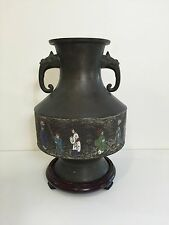 "Antique Chinese Bronze Cloisonne Enamel Vase ""Chinese Wedding Carriage Scene"""