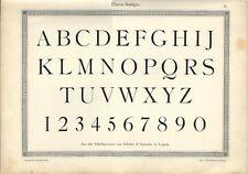 Stampa antica ALFABETO e NUMERI Elzevir ANTIQUA 1898 Old Print Alphabet Writing