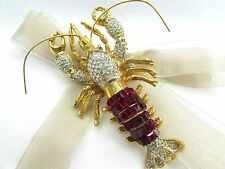 18k Gold Plate Lobster Swarovski Element Austrian Crystal Rhinestone Brooch Pin