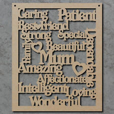 Mum Words Sign - Wooden Laser Cut mdf Craft Shapes - Blanks