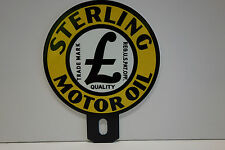 """License Plate Topper STERLING MOTOR OIL  4 5/8"""" High by 3 3/4"""" Wide NICE PIECE"""