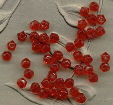 sale VINTAGE GLASS Cherry RED ENGLISH CUT BEADS Peekaboo SPACERS tiny  4mm Lot