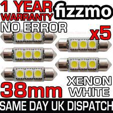 5x 38mm 239 272 SV8.5 6000k BRIGHT WHITE 3 SMD LED FESTOON LIGHT BULB ERROR FREE