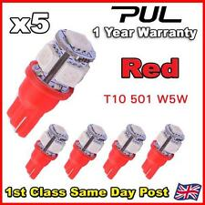 5 X 5 SMD LED 501 T10 W5W PUSH WEDGE 360 HID RED SIDE LIGHT BULB