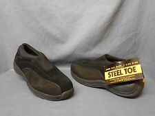 Rockport 8154 Steel Toe Work Shoes Slip-On Suede Black Womens Size 10 WIDE NEW!