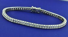 6.00 ct DIAMOND BRACELET TENNIS white gold princess cut 14K made in USA