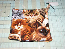 1 set of 2 Cat Cats Pot Holders handmade made in maine Black background  breeds