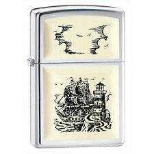 Zippo High Polish Chrome w/ Scrimshaw Ship Emblem # 359