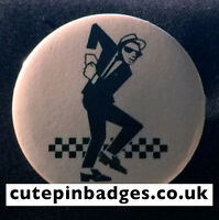 "2Tone Dancer Badge (25mm/1"") Pin Button Ska Specials Punk Oi Reggae New Wave Mod"