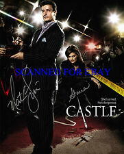 CASTLE CAST AUTOGRAPHED 8x10 RP PHOTO STANA KATIC AND NATHAN FILLION  DETECTIVES