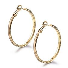 Simple design 18k gold filled new arrival bling bling big hoop pierced earring