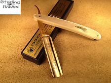 "6-1/4"" Closed Dovo Straight razor Soligen Germany Carbon Blade Gold Washed Tang"
