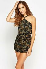 *IN VOUGE PARIS* CAMOUFLAGE CUT OUT SIDE TRENDY BLOGGERS PLAYSUIT UK 10 BNWT
