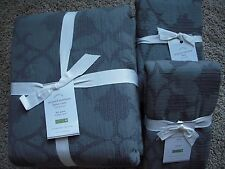 POTTERY BARN Jacquard Matelasse Full/Queen Duvet & 2 Stand Shams NEW - Flagstone