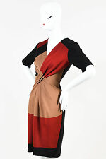 Escada Black Red Brown Color Block Gathered Knot Short Sleeve Sheath Dress SZ 36