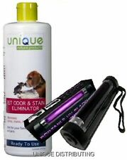 Pet Odor Stain Remover & UV Blacklight Urine Finder Pee Cleaner Detector 24 oz.