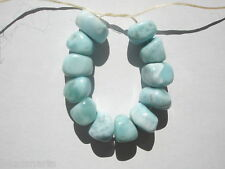Natural A+ Larimar tumbled nugget Beads - 8-9x10-12x7-9mm - 12