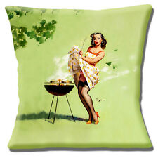 "NEW GIL ELVGREN PINUP VINTAGE RETRO 'SMOKING BARBEQUE' 16"" Pillow Cushion Cover"