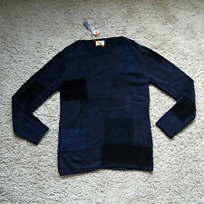 NEU Nudie Jeans,  Pullover Pulli Knitted Sweater DALE PATCHED BLACK/INDIGO M