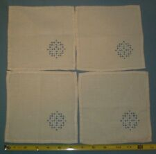 "Set of 4 Hardanger Linen napkins 6 1/2"" square"