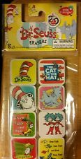 DR SEUSS CAT IN THE HAT SQUARE ERASERS GREEN EGGS & HAM ONE FISH TWO FISH HORTON