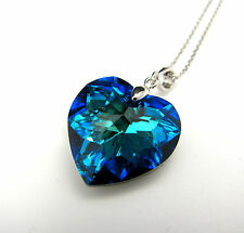 925 Silver Swarovski Elements Crystal Heart Pendant Necklace Bermuda Blue UK
