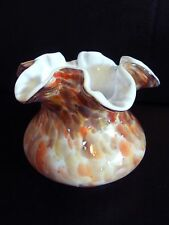 "VINTAGE FENTON HAND BLOWN,MULTI-COLOR, RUFFLED TOP, ENCASE GLASS VASE 4""TALL"
