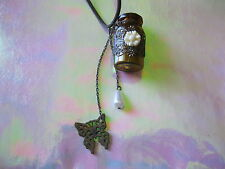 Poison Potion Gothic Wicca Butterfly Bottle Pendant Necklace with Spell Scroll.