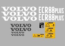 VOLVO ECR88 PLUS DIGGER COMPLETE DECAL STICKER SET WITH SAFETY WARNING DECALS