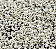 3000pcs Silver Plated Spacers Beads Smooth Round 2mm