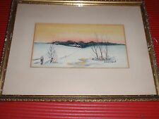 VINTAGE FRAMED ORIGINAL PAINTING WINTER LANDSCAPE ANNA F. HUNT 12 X 9 3/4