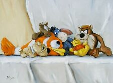 Original Oil painting - still life - stuffed toys  - by j payne