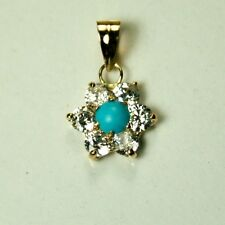 Solid 14k yellow gold 10mm flower shape natural Blue Turquoise pendant 0.65 tcw