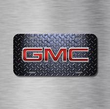 GMC Vehicle License Plate Front Auto Tag Plate Black Diamond Plate Truck Sierra