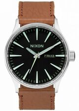 NEW Nixon Herrenuhr A105-1037 Sentry Leather Black Saddle Leder Uhr