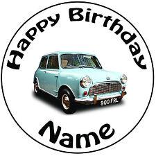"""Cumpleaños Personalizado Vintage Blue Mini Redondo 8"""" fácil Precortada Glaseado Cake Topper"""