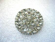"Vintage Silver Tone Rhinestone Domed Cast Metal Button, 1.25"", Round"