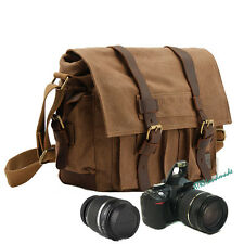 DSLR Camera Case & Shoulder Canvas Messenger College Bag for Canon Nikon Sony UK