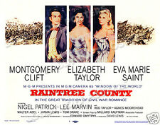 RAINTREE COUNTY LOBBY TITLE CARD POSTER 1957 MONTGOMERY CLIFT ELIZABETH TAYLOR