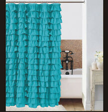 Watterfall Ruffle Fabric Shower Curtain color  turquoise
