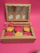 Kraft Cupcake Boxes 6 Cup  with Window x 25 Boxes great for Crafts