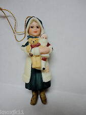 NEW 1987 Jan Hagara NOEL FIGURINE CHRISTMAS ORNAMENT Girl Santa Teddy Bear NIB!