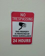 VIDEO SURVEILLANCE Security Decal Warning Sticker (no tresp..24hrs ) 1 sticker