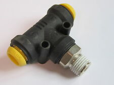"10mm x 1/4"" KELM Male Centre Leg Swivel Tee Pneumatic Push In Fitting #1A201"